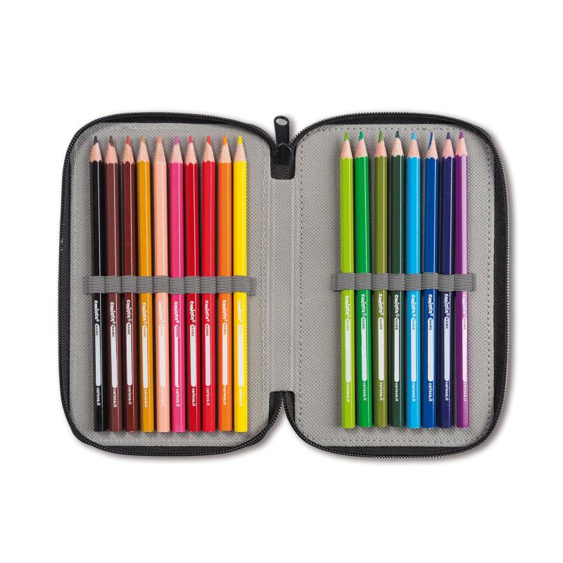 43030/YELLOW - CARIOCA - Astuccio 3 Zip con Materiale Scolastico PIXEL Giallo - Estuche - Pencil case - Trousse