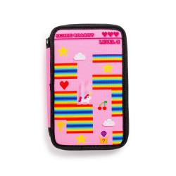 43030/PINK - CARIOCA - Astuccio 3 Zip con Materiale Scolastico PIXEL Rosa - Estuche - Pencil case - Trousse