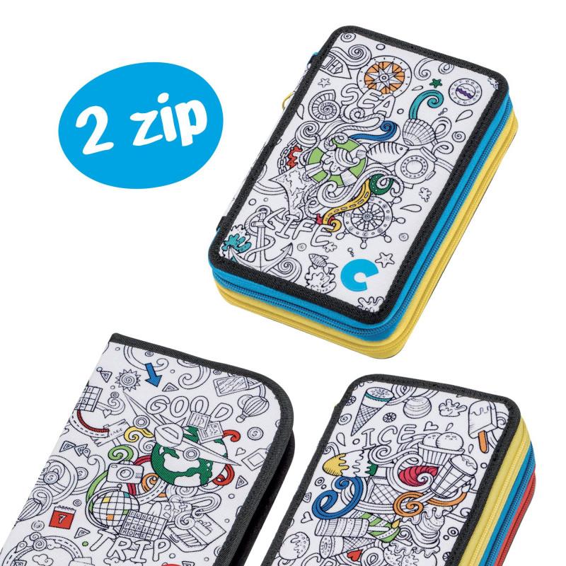 42911/ICE - CARIOCA - Astuccio 2 zip con Materiale Scolastico COLOR Ice - Estuche - Pencil case - Trousse