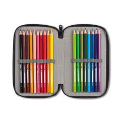 43030/RED - CARIOCA - Astuccio 3 Zip con Materiale Scolastico PIXEL Rosso - Estuche - Pencil case - Trousse