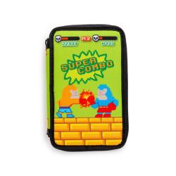 43030/GREEN - CARIOCA - Astuccio 3 Zip con Materiale Scolastico Pixel Verde - Estuche - Pencil case - Trousse
