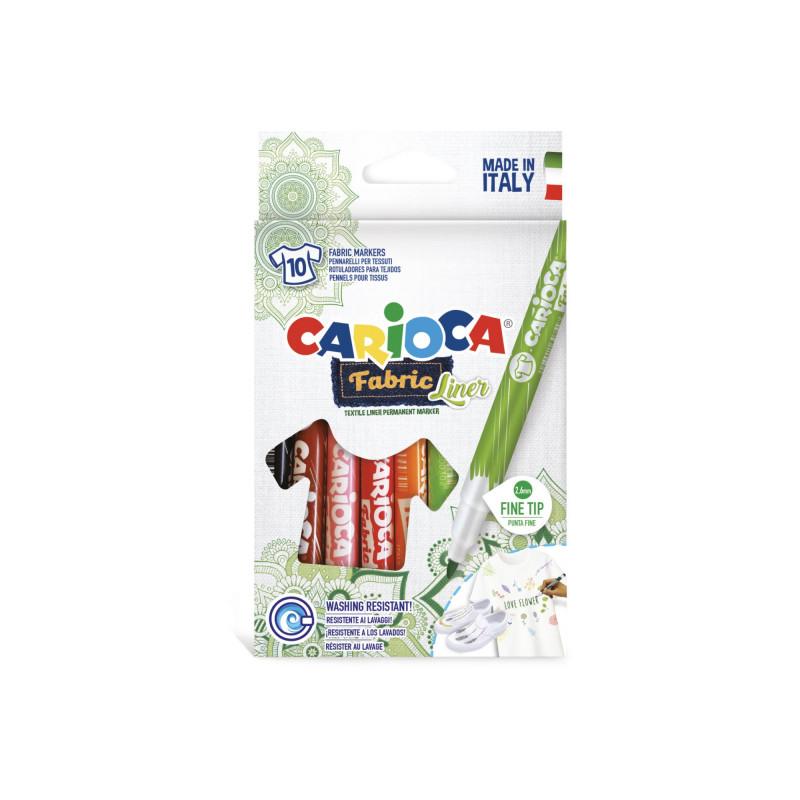 42909 - CARIOCA - Pennarelli Per Tessuti Punta Fine 10 Pz - Rotuladores tejidos - Fabric felt tip pens - feutres tissu