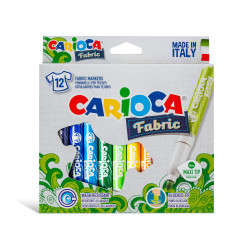 42957 - CARIOCA - Pennarelli Per Tessuti Punta Maxi 12 Pz - Rotuladores tejidos - Fabric felt tip pens - feutres tissu