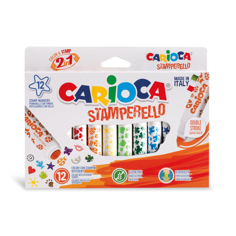 42240 - CARIOCA - Pennarelli Stamperello 12 Pz - Rotuladores stamperello - Felt tip pens stamperello - Feutres stamperello