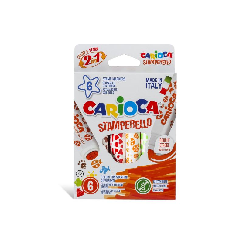 42279 - CARIOCA - Pennarelli Stamperello 6 Pz - Rotuladores stamperello - Felt tip pens stamperello - Feutres stamperello
