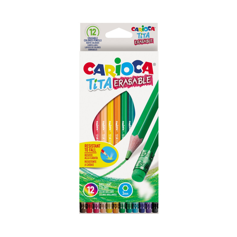 42897 - CARIOCA - Matite Colorate in Resina Cancellabili TITA 12 pz - Lápices Borrables - Erasable Colored -  Crayons Effaçable
