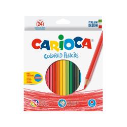 40381 - CARIOCA-  Matite Esagonali Colorate in Legno 24 pz - Lápices Hexagonales - Hexagonal Pencils - Crayons Hexagonal