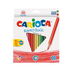 42516 - CARIOCA-  Matite Triangolari Colorate in Legno 24 pz - Lápices Triangulares - Triangular Pencils - Crayons Triangular