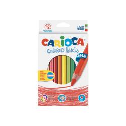 41406 - CARIOCA-  Matite Esagonali Colorate in Legno Maxi 12 pz - Lápices Hexagonales - Hexagonal Pencils - Crayons Hexagonal