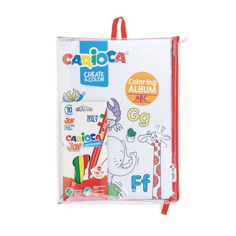 42985 - CARIOCA - Album ABC&NUMBERS da colorare con 10 Pennarelli Superlavabili Punta Fine - Album para colorear