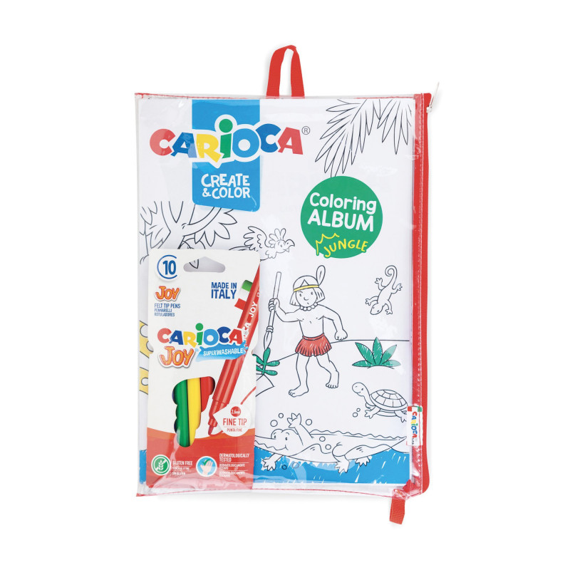 Astuccio con Album  di 16 pag da colorare con 10 Pennarelli Superlavabili Punta Fine  COLORING ALBUM -   SEA& Jungle