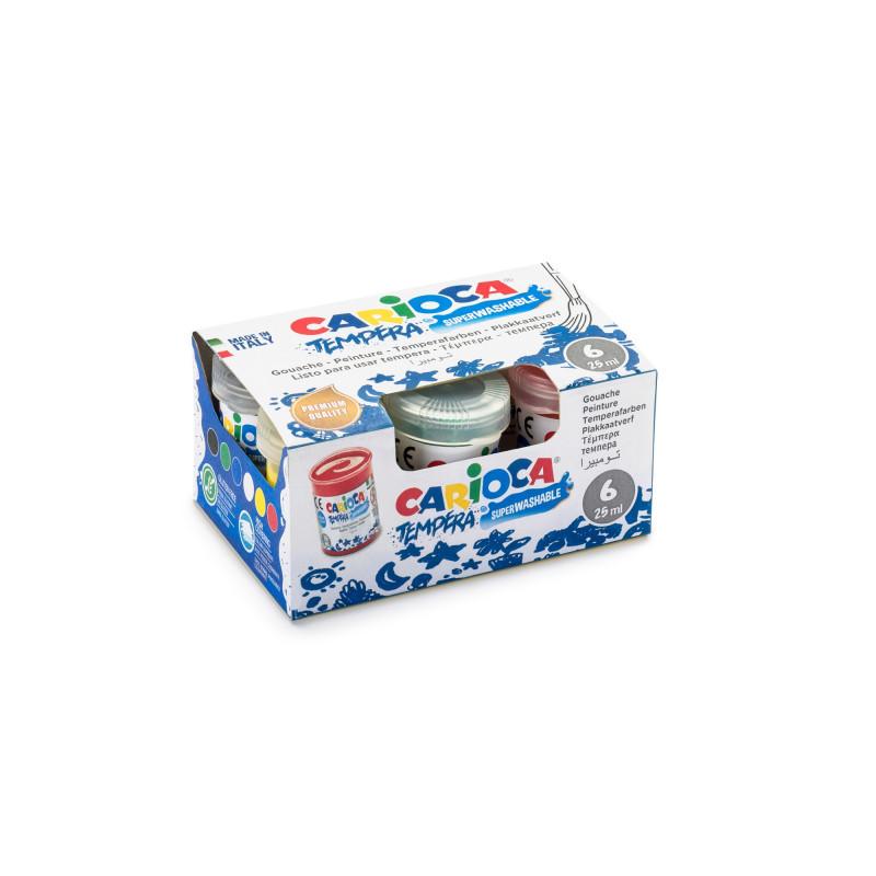 KO012/A - CARIOCA - Tempera in Vasetti di 25 ml 6 pz - Témpera en botes - Jars Tempera - Detrempe en pots