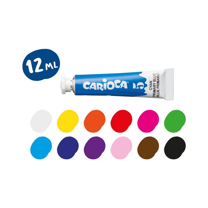 KO116 - CARIOCA - Tempera in Tubetti di 12 ml 12 pz - Témpera en Tubos - Tubes Tempera - Detrempe en Tube
