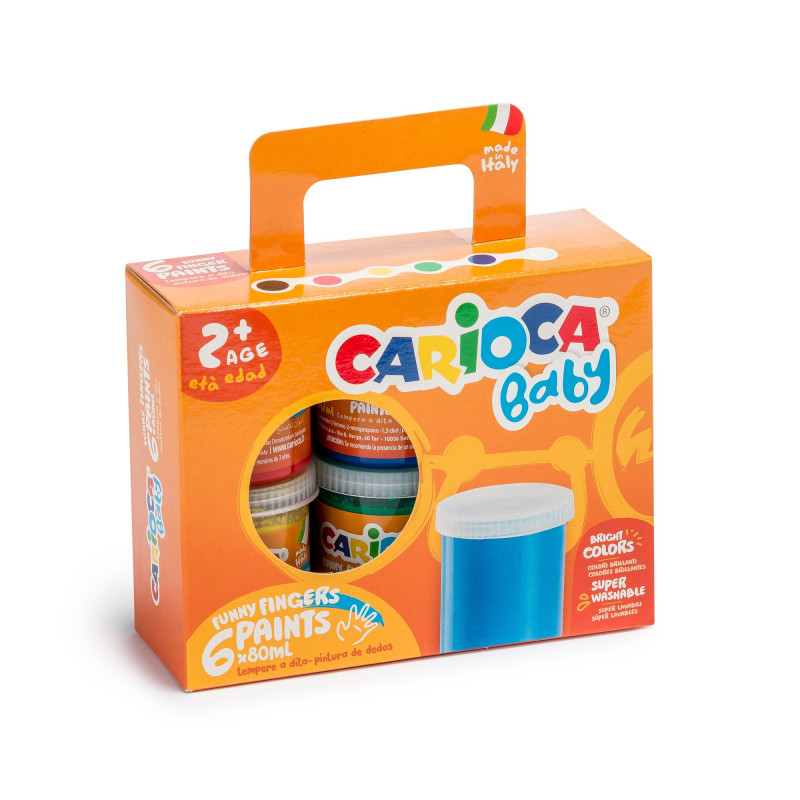KO032 - CARIOCA - Tempera a Dita Superlavabile 80 ml colori assortiti - Pintura de dedos - Finger paint - Peinture au Doigt