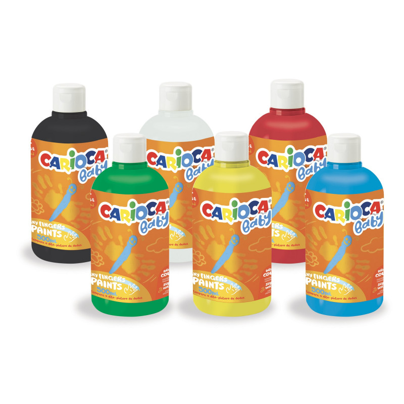 50028 - CARIOCA - Tempera a Dita Superlavabile 500 ml colori assortiti - Pintura de dedos - Finger paint - Peinture au Doigt