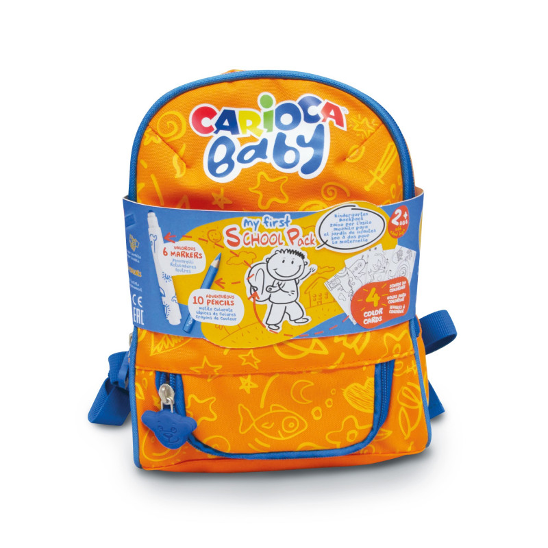 Mini Zaino Con Corredo (6 Pennarelli, 10 Matitoni, 4 Schede da colorare) BABY BACKPACK - 1 pz
