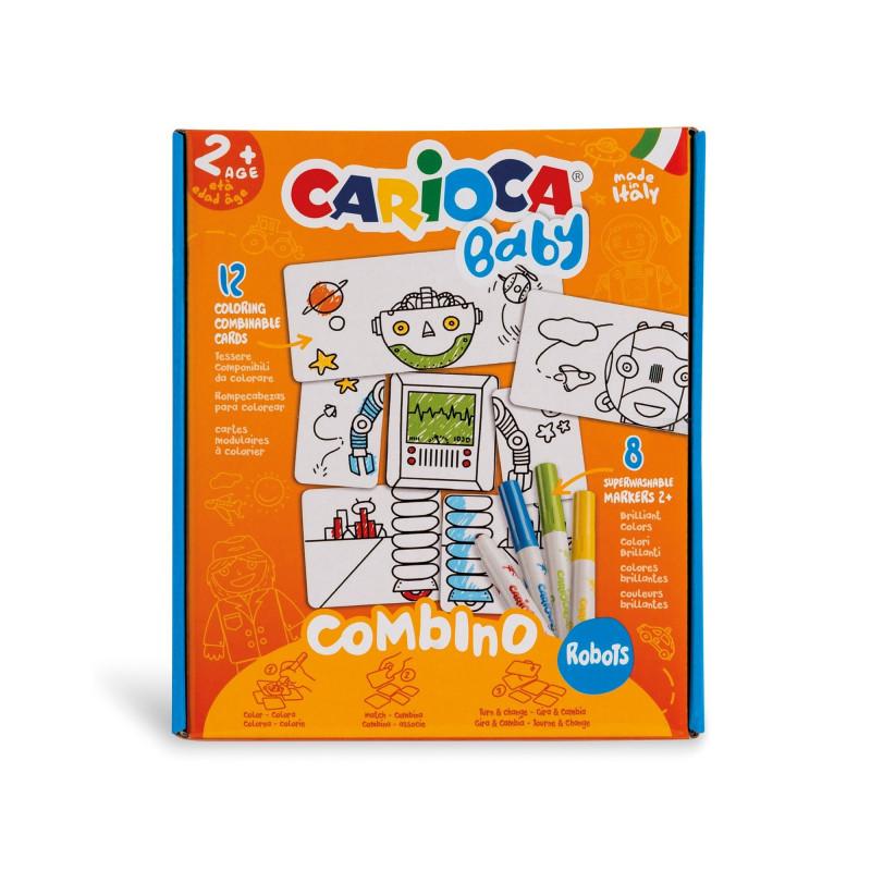 Puzzle Semplificato per Bambini con 8 Pennarelli Superlavabili BABY COMBINO Robots - 1 pz