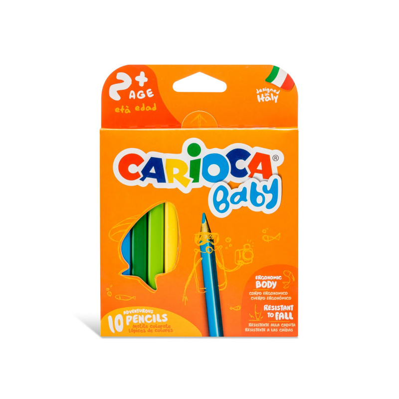 42819 - CARIOCA - Matitone Colorate Triangolare BABY 10 pz - Lápices Triangulares - Triangular Pencils - Crayons Triangulaires