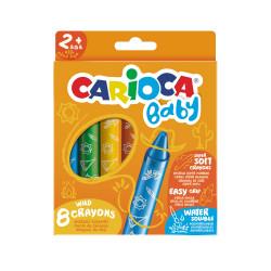 42892 - CARIOCA - Pastelloni Cera Extra Large WILD CRAYONS BABY 8 pz - Ceras - Crayons - Crayons