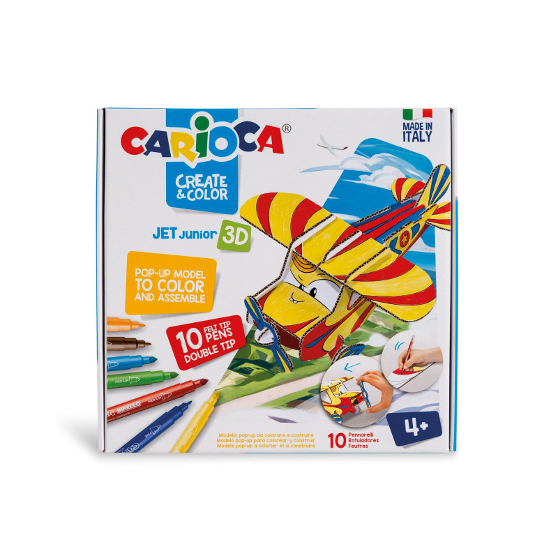 Modello Pop Up 3D da costruire e colorare con 10 Pennarelli Superlavabili CREATE&COLOR JET JUNIOR - 1 pz