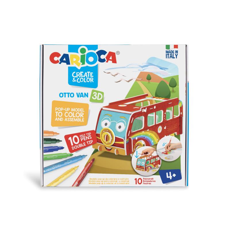 42987 - CARIOCA - Modello Pop Up 3D da colorare con 10 Pennarelli Superlavabili