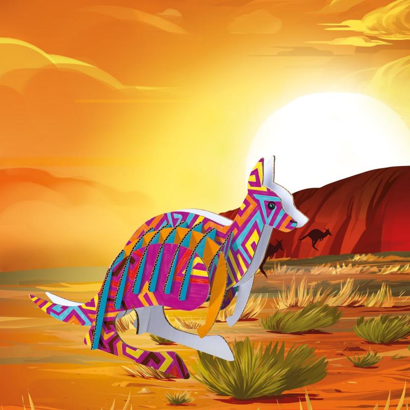 42903 - CARIOCA - Modello Pop Up 3D da costruire e colorare con 18 Pennarelli Superlavabili kangaroo