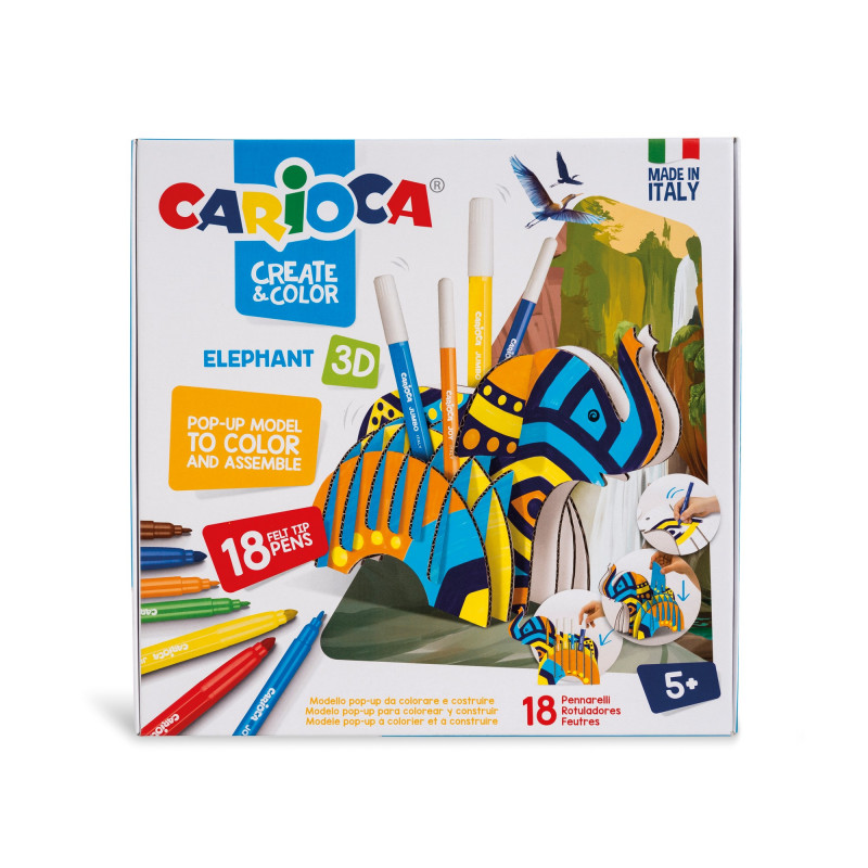 42902 - CARIOCA - Modello Pop Up 3D da costruire e colorare con 18 Pennarelli Superlavabili ELEPHANT