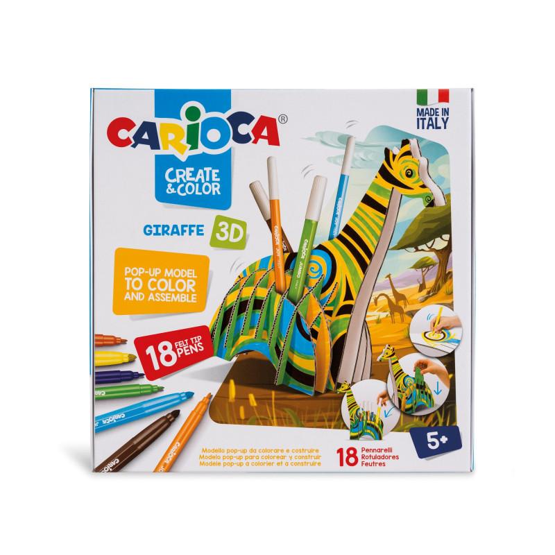 42901 - CARIOCA - Modello Pop Up 3D da costruire e colorare con 18 Pennarelli Superlavabili GIRAFFE