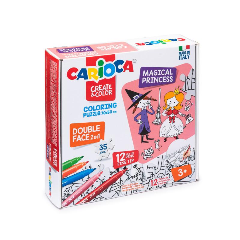 Puzzle Bifacciale 35 pezzi da colorare con 12 pennarelli Superlavabili Punta Maxi COLORING PUZZLE - MAGICAL PRINCESS