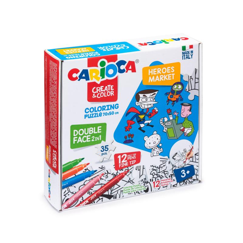 Puzzle Bifacciale 35 pezzi da colorare con 12 pennarelli Superlavabili Punta Maxi COLORING PUZZLE - SUPER HEROES & MARKET