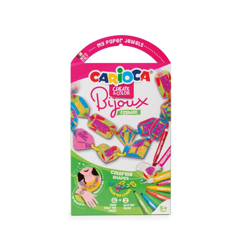 Gioiellini da colorare con 6 Mini Pennarelli superlavabili e 2 Glitter Glue BIJOUX FASHION - 1 pz