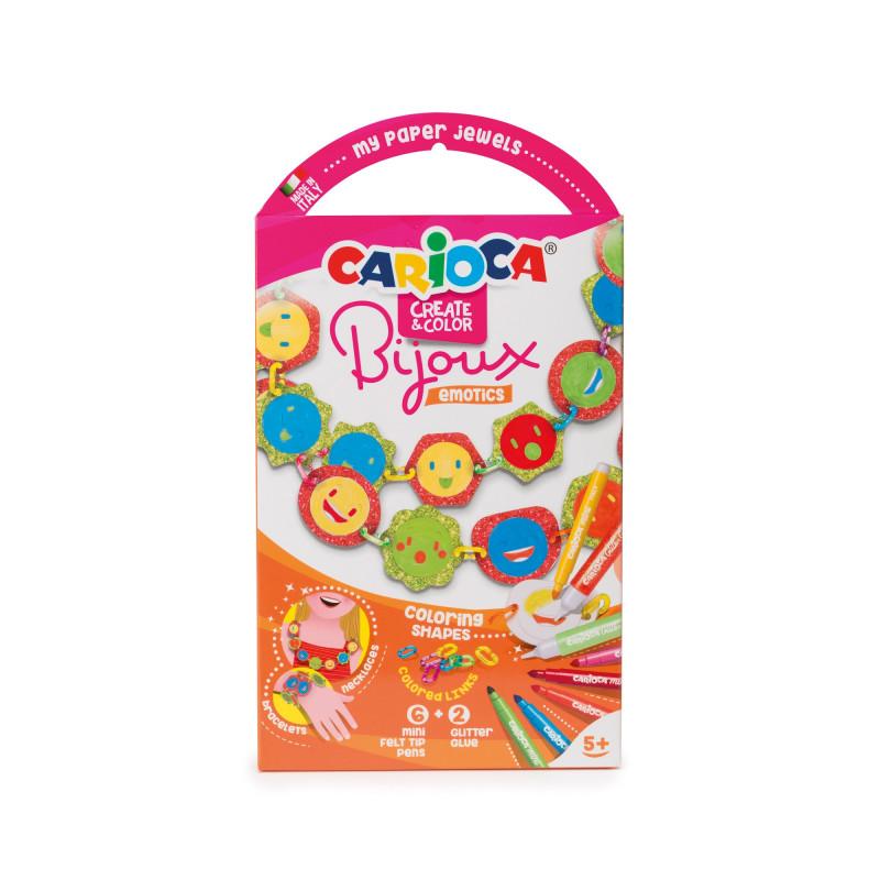 Gioiellini da colorare con 6 Mini Pennarelli superlavabili e 2 Glitter Glue BIJOUX EMOTICS - 1 pz