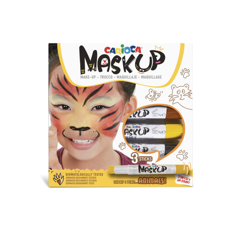 43048 - CARIOCA - Colori per la pelle MASK UP ANIMALS 3 pz - Colores para la piel - Face paint - Peintures pour le visage