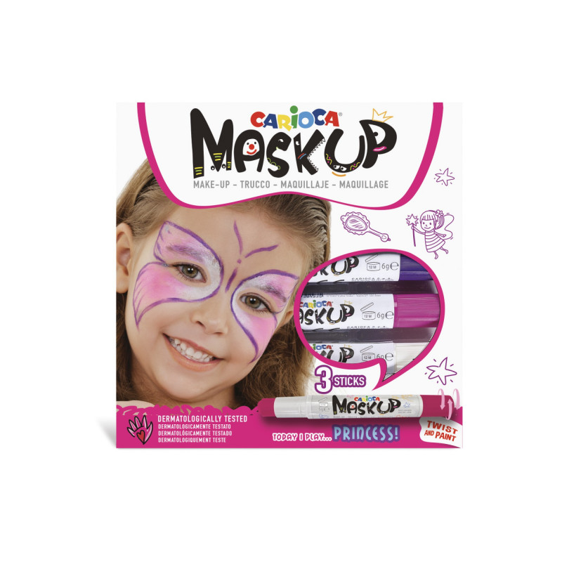 43049 - CARIOCA - Colori per la pelle MASK UP PRINCESS 3 pz - Colores para la piel - Face paint - Peintures pour le visage