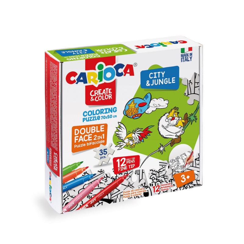 Puzzle Bifacciale 35 pezzi da colorare con 12 pennarelli Superlavabili Punta Maxi COLORING PUZZLE - CITY & JUNGLE