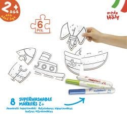 43080 - CARIOCA - Puzzle da Colorare Transport BABY - Puzle para Colorear - Coloring Puzzle - Puzzle de Coloriage