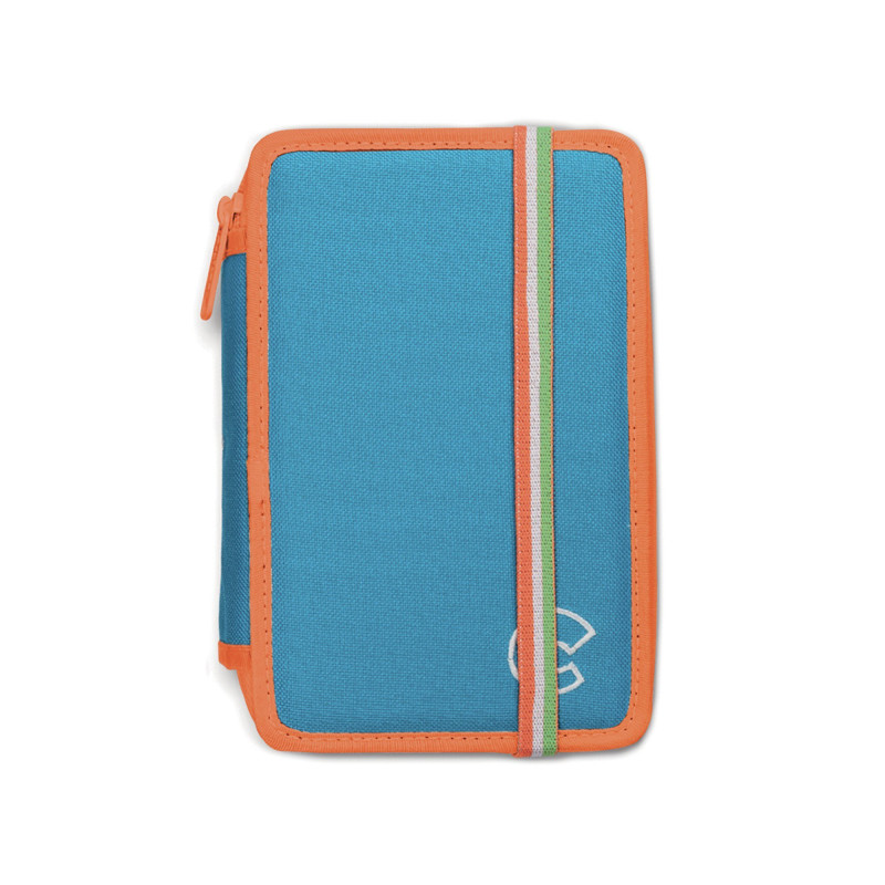 42801/BLUE - CARIOCA - Astuccio 2 zip con Materiale Scolastico FLUO Blu - Estuche - Pencil case - Trousse