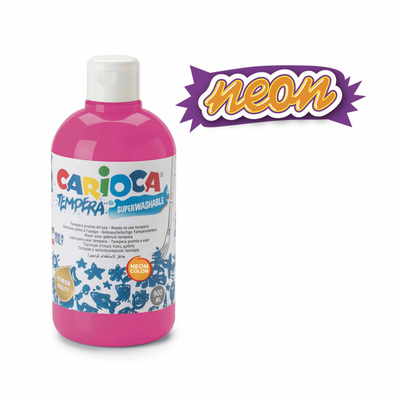 KO027/37 - CARIOCA - Tempera Rosso Primario Neon 500 ml - Témpera - Tempera - Detempre
