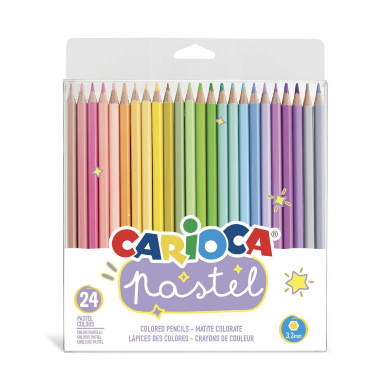 43310 - CARIOCA-  Matite Esagonali Pastel Legno 24 pz - Lápices Hexagonales - Hexagonal Pencils - Crayons Hexagonal
