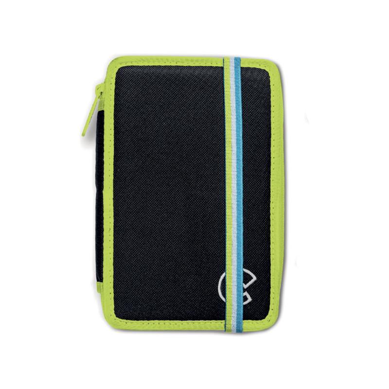 42801/BLACK - CARIOCA - Astuccio 2 zip con Materiale Scolastico FLUO Nero - Estuche - Pencil case - Trousse