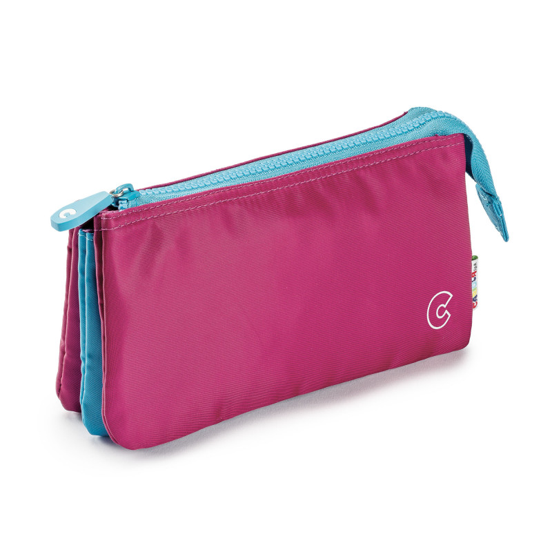 23284/Rosa - CARIOCA - Astuccio Multi-Tasche - Estuche Multi-Espacio - Multi-Pocket Pencil Case - Trousse Multi-Poches