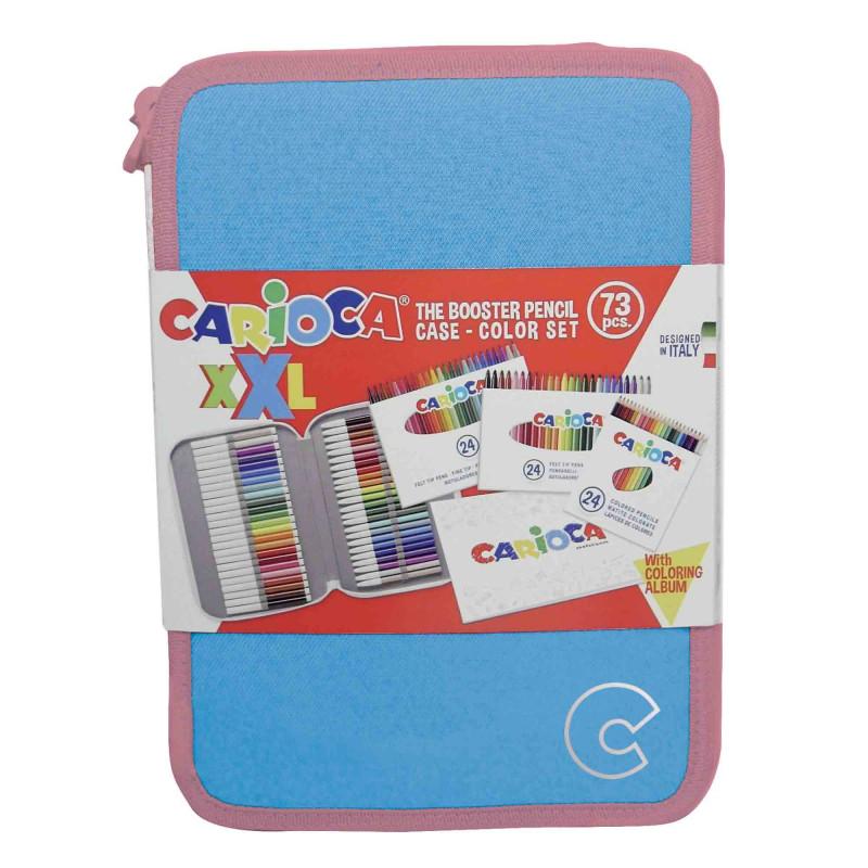 42849/18 Blu - CARIOCA - Astuccio XXL Pastel Blu + Album- Estuche XXL - XXL Pencil case - Trousse XXL