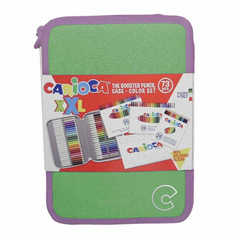 42849/15 Verde - CARIOCA - Astuccio XXL Pastel Verde + Album- Estuche XXL - XXL Pencil case - Trousse XXL