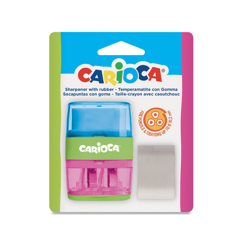 43107 Blu-Rosa - CARIOCA - Temperini con 2 Buchi 1 Pz - Sacapuntas 2 Agujeros - Sharpeners 2 Holes - Tallie-crayons 2 Trous