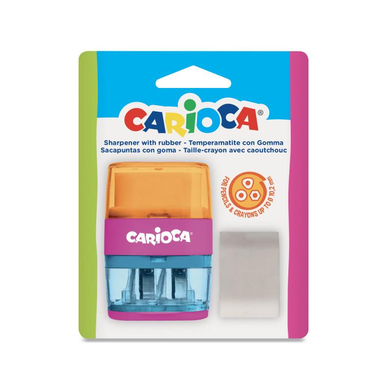 43107 Arancion-Blu - CARIOCA - Temperini con 2 Buchi 1 Pz - Sacapuntas 2 Agujeros - Sharpeners 2 Holes - Tallie-crayons 2 Trous