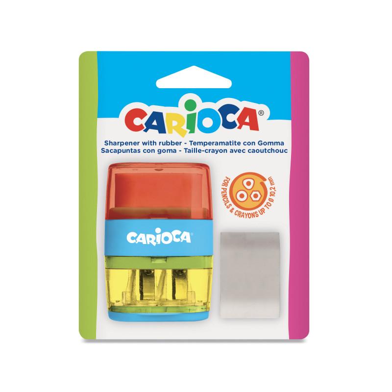 43107 Rosso-Giallo - CARIOCA - Temperini con 2 Buchi 1 Pz - Sacapuntas 2 Agujeros - Sharpeners 2 Holes - Tallie-crayons 2 Trous