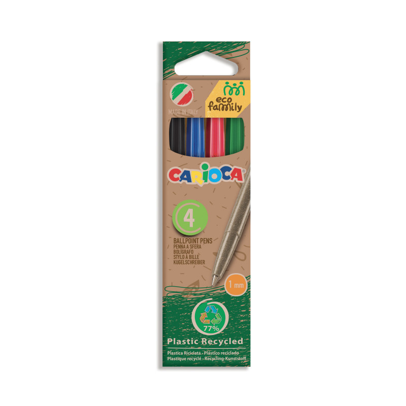 43102/02 - CARIOCA - Penne Eco Family colori assortiti 4 Pz - Bolígrafos Eco Family - Pens Eco Family - Stylo Eco Family