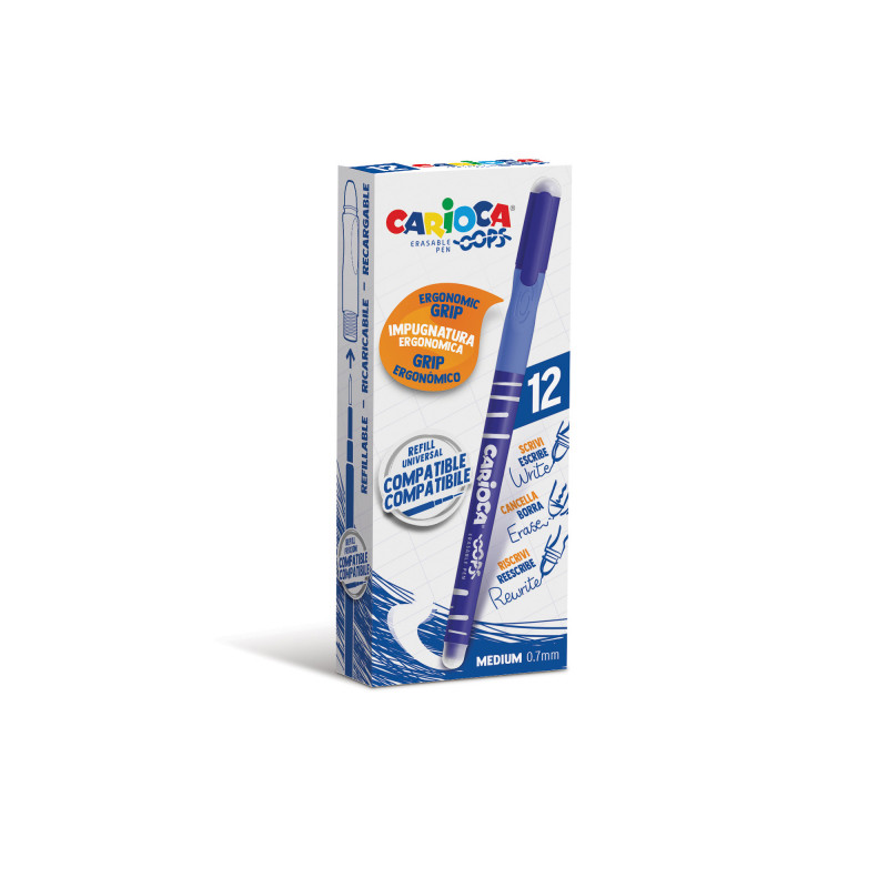 43039/02 - CARIOCA - Penna Cancellabile OOPS blu 12 pz - Bolígrafo Borrable - Erasable Pen - Stylo Effaçable