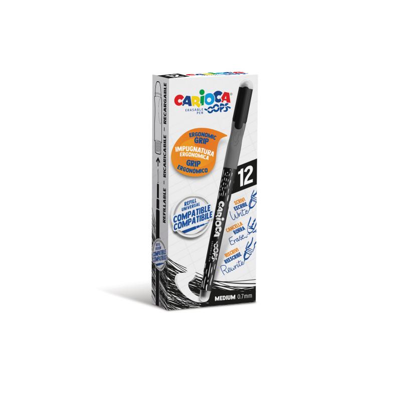 43039/01 - CARIOCA - Penna Cancellabile OOPS nero 12 pz - Bolígrafo Borrable - Erasable Pen - Stylo Effaçable