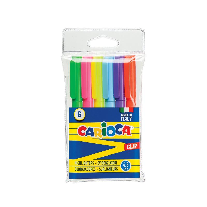 42720 - CARIOCA - Evidenziatori CLIP Colori assortiti 6 pz - Subrayadores - Highlighters - Surligneurs
